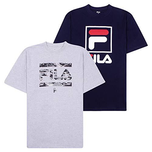 Fila T-Shirts for Men, Big and Tall Men Shirts, Oversize Tees, Shirt 2 Pack Heather Grey/Navy