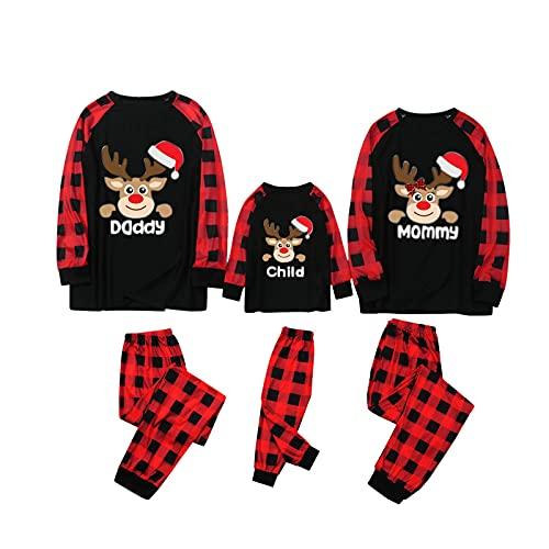 K-Youths 2 Piezas de Santa Claus Elk Loungewear Ropa de Dormir Conjunto de Pijamas a Juego de La Familia Mujeres Hombres Niños Manga Larga Festival Diario