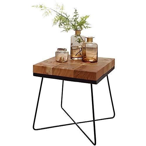 FineBuy Beistelltisch Zarina 45 x 45 x 51 cm Akazie Massivholz mit Metallgestell | Industrial Anstelltisch Quadratisch Massiv Holz Tisch Braun | Wohnzimmertisch Modern Holztisch mit Metallbeinen