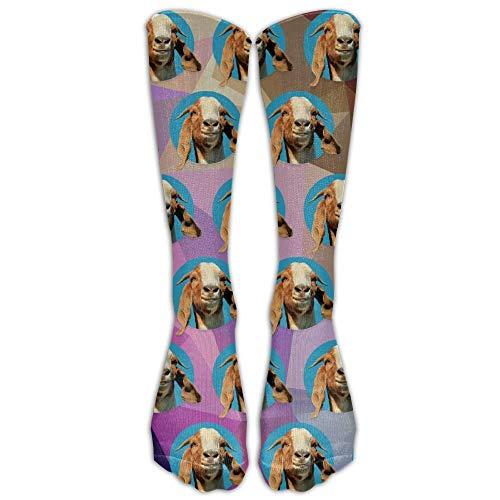 ZQSok Funny Repetición de cabeza de cabra Calcetines debajo de la rodilla Hombres y mujeres Medias de tubo atlético para correr, caminar