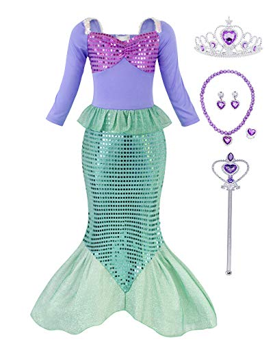 HenzWorld Little Girls Clothes Princess Mermaid Costume Dresses Role Play Cosplay Birthday Party Clothes Sequin Fish Scale Skirt Outfits Purple Jewelry Accessories Kids Age 7-8 Years Old