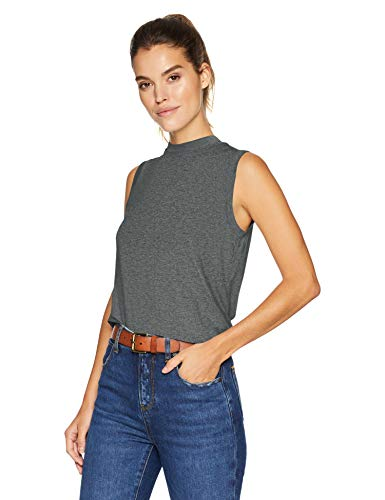 Daily Ritual Jersey Sleeveless Boxy Mock-Neck Shirt novelty-tank-tops, charcoal heather grey, US M (EU M - L)
