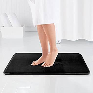 Genteele Memory Foam Bath Mat Non Slip Absorbent Super Cozy Velvet Bathroom Rug Carpet (17  X 24 , Black)