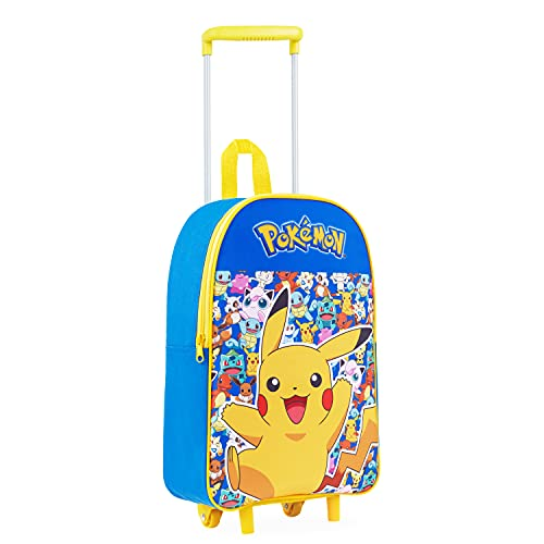 Pokemon Maletas Viaje para Niños, Maleta Cabina Avion con Pikachu, Mochila con Ruedas para Viajes, Regalos para Niños y Niñas