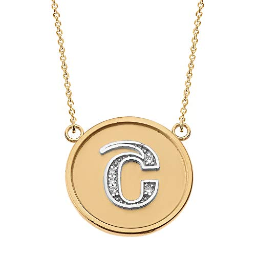 Little Treasures 14 ct Solid Two Tone Yellow Gold Armenian Alphabet Diamond Disc Initial Sh Necklace