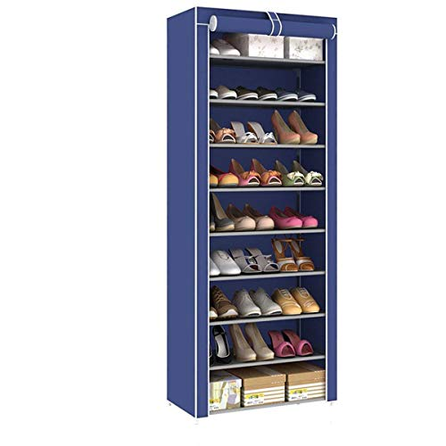 XKMY Estante de almacenamiento para zapatos de 9 niveles para zapatos, a prueba de polvo, tela no tejida, soporte de almacenamiento para zapatos, organizador de zapatos (color: azul marino)