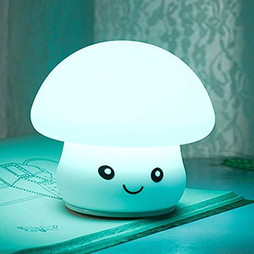 IWILCS Luz nocturna LED para niños, silicona, USB, seta de silicona, luz nocturna LED, lámpara táctil para niños, con 7 cambios de color, control táctil para dormitorio, habitación de bebé