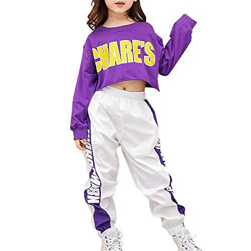 Tasty Life Filles Hip Hop Sportswear Set Printemps À Manches Longues Court Top + Bande Latérale Pantalon De Sport Hip Hop Street Dance Set Sports Casual Wear Deux Pièces(150cm,Purple)