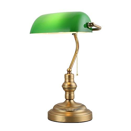 XIANGYU Lámpara de escritorio antigua tradicional de los banqueros de bronce sombra de cristal verde estudio de la sala de estar de la sala de estar estudio lámpara de mesa de lectura