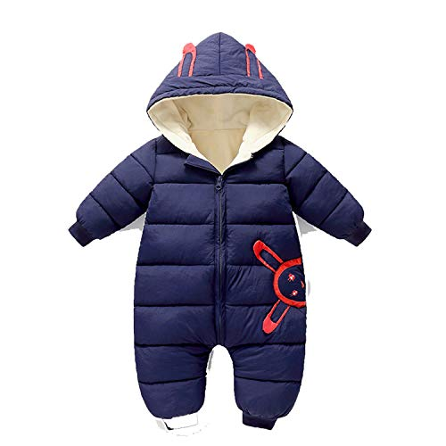 Guy Eugendssg Newborn Baby Winter Warm Cotton Coat Toddler Thick Romper Infant Hooded Jumpsuit Outfits Blue 24M
