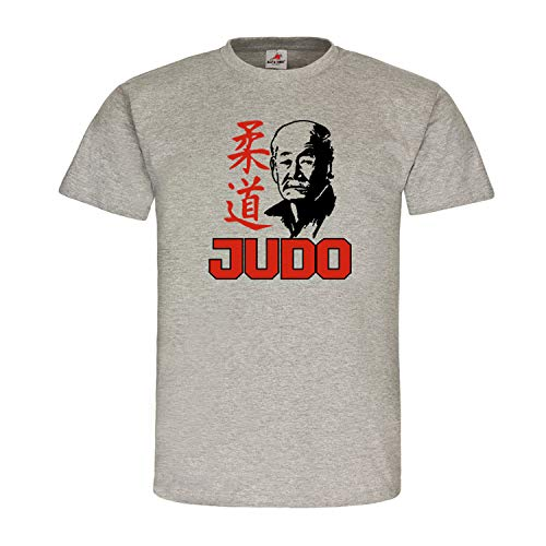Judo Kano Jigoro Meister Trainer Kampf Sport Judoka Combat Japan Martial Art Hemd Trikot Dojo T-Shirt #20420, Größe:M, Farbe:Grau