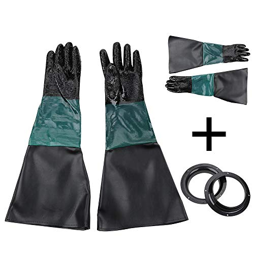 YORKING 60 cm Arbeitssicherheitshandschuhe Sandstrahlhandschuhe Teichpflege Handschuhhalter + Clip + Handschuhe Gummi Leder SBC 220/350/420/990 Sandstrahlhandschuhe