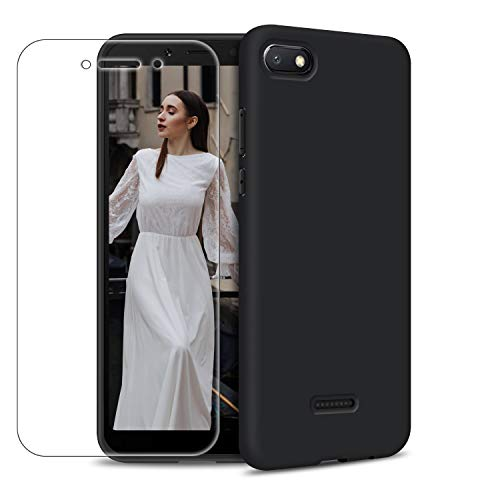 Funda Xiaomi Redmi 6A + Protector de Pantalla de Vidrio Templado, Carcasa Ultra Fino Suave Flexible Silicona Colores del Caramelo Protectora Caso Anti-rasguños Back Case - Negro