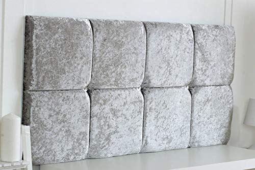 Divan Bed Headboard 8 Cubed Deluxe Crushed Velvet Padded Fabric Sturdy Design (Silver, Small Double 4 FEET, Height 20 INCHES)
