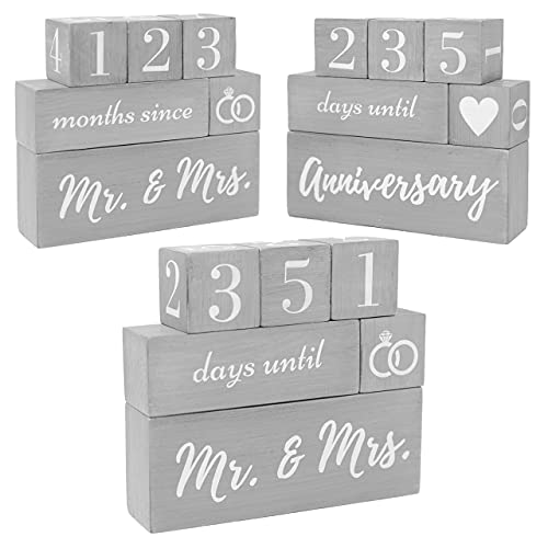 Mr and Mrs Gift For Couples Days Until Wedding Day Countdown Block Calendar Happy Couple, Unique Memorable Bridal Shower Gifts For Bride, Future Fiance Gifts Engagement Gifts His Hers Newly Engaged AF