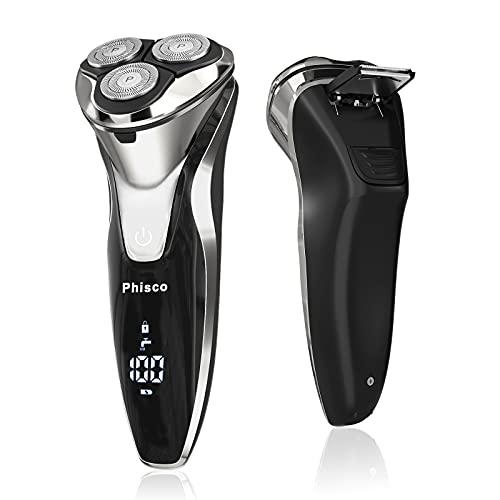 Phisco Elektrorasierer, Rasierer Herren Elektrisch,IPX7 Wasserdichte &LED Anzeige 3D Elektrischer Rasierer, Nass-und Trockenrasierer Herren,Elektrorasierer mit Pop-Up Barttrimmer