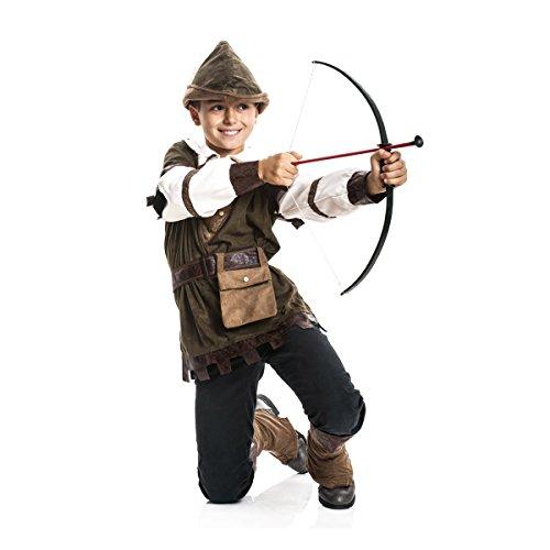 Kostümplanet® Robin Hood Kostüm Kinder Jungen Kinder-Kostüm Set Faschingskostüm Mittelalter Verkleidung Karneval Jäger Bogenschütze Größe 116