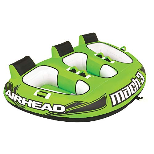 Airhead AHM3-1 Mach 3 | 1-3 Rider Towable Tube for Boating, Green/White