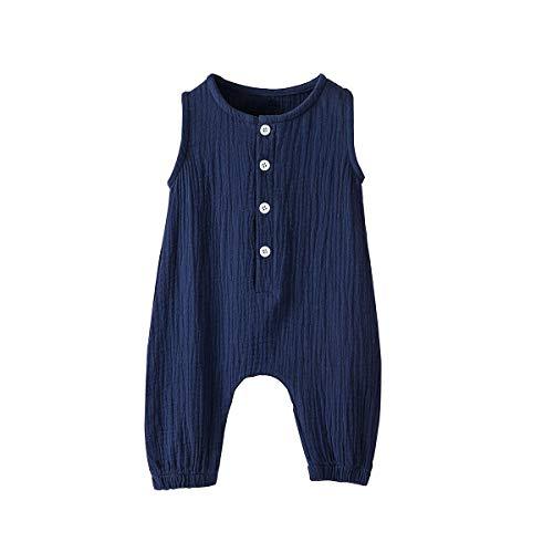 Arleysh Newborn Baby Girl Romper Jumpsuit Cotton Linen Sleeveless Ruffled Bodysuit Infant Summer Clothes Outfits (Blue, 0-3 Months)