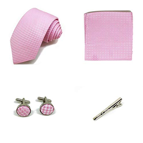 S.R HOME Coffret Cadeau Ensemble Cravate homme, Mouchoir de poche, épingle et boutons de manchette Roses a points