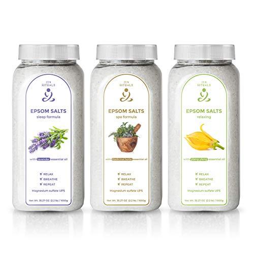 Zen Rituals Badesalz zur Entspannung Set mit 3 Flaschen - Reines Magnesium-Badesalz Ylang Ylang, Epsom Salz-Heilkräuter, Epsom Salz -Lavendel - mit ätherischen Ölen, 3 KG