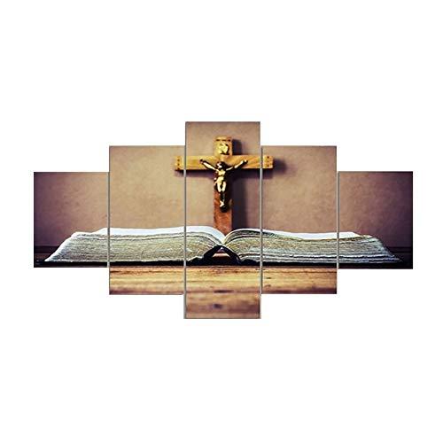 WLGOODReligionen Paingting Dekorative Spray-Gemalte Leinwand Ölgemälde Fünffach 5 Stück Jesus Cross Wandkunst Leinwand