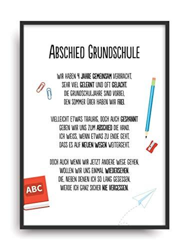 Geschenk Karte ABSCHIED GRUNDSCHULE Kunstdruck Schule Lehrer Schüler Bild ohne Rahmen DIN A4