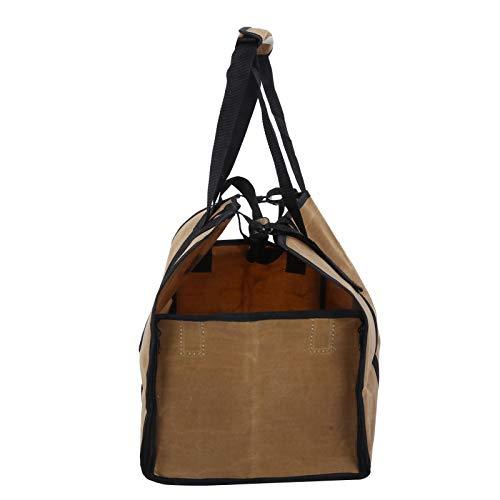 Soporte de leña, bolsa para leña, protección acolchada portátil resistente al fuego para barbacoas en el hogar (Wet Wax Mud Color)