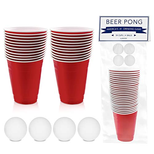 BayView Beer Pong Set Complete | 24 Cups & 4 Balls | America's #1 Drinking Game, Reusable