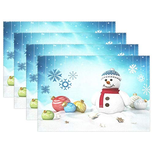 Esteras De Mesa De Copos De Nieve De Muñeco De Nieve Navideño para Cocina Comedor Navidad Invierno Año Nuevo Tapetes De Vacaciones Lavables 12X18 Pulgadas Tapetes De Cocina Resistentes Al Calor