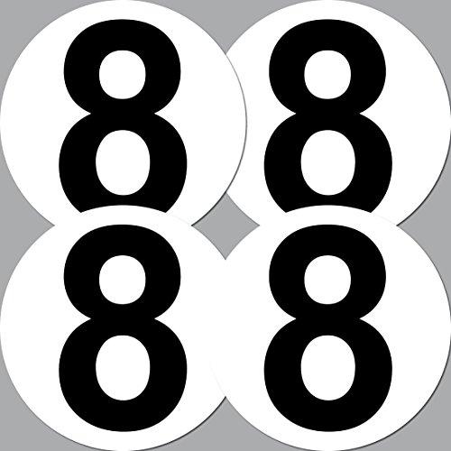 4 Aufkleber 15cm Sticker Startnummer 8 Racing Auto Start Nummer Zahl Ziffer Tor Halle Müllkontainer