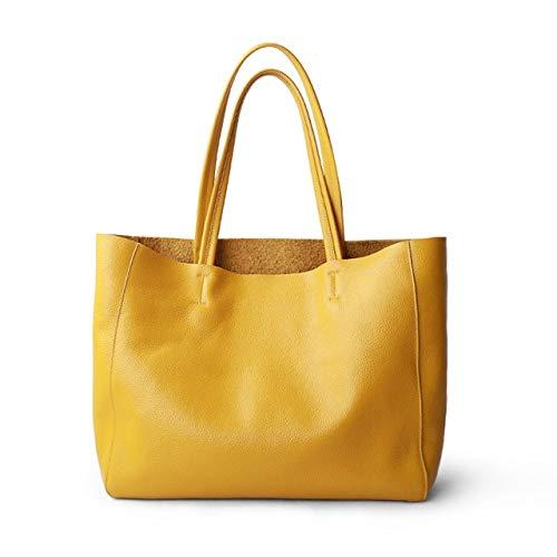 Mdsfe New Women Deluxe Genuine Cowhide Leather Totes Handbag Lady Simple Soft Satchels Bag High Capacity Waterproof Shopping Bags - lemon yellow, 36cm