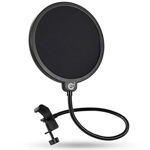EJT Upgraded Microphone Pop Filter Mask Shield for Blue Yeti and Other Mic, 6 Inch Dual Layered Pop Wind Screen with Enhanced Flexible...