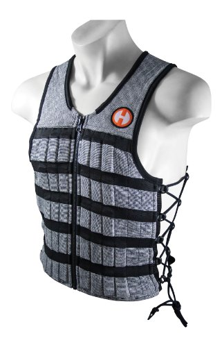 Hyperwear Hyper Vest Pro Adjustable Weighted Exercise Vest, Comfortable Stretch Fabric, Thinnest Body Weight Vest for Men and Women, Includes 10 lbs steel weights, Total Weight Capacity 23lb (Med), Blk/Silver