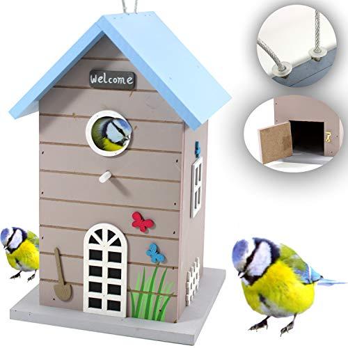qm VOGELVILLA blau-grau Holz - Vogelhaus NISTKASTEN Vogelfutterhaus Meise 202 3363