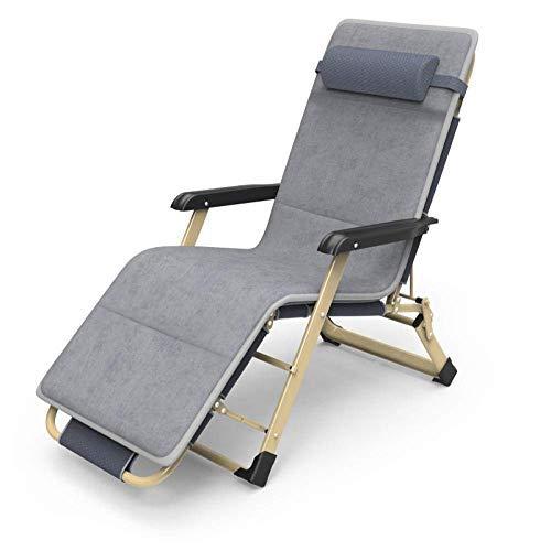 QTWW Tumbona Plegable, sillón reclinable Plegable, sillón reclinable reclinable de jardín, sillón Plegable Acolchado, Peso máximo 180 kg-Gris Plateado + Almohadilla de algodón