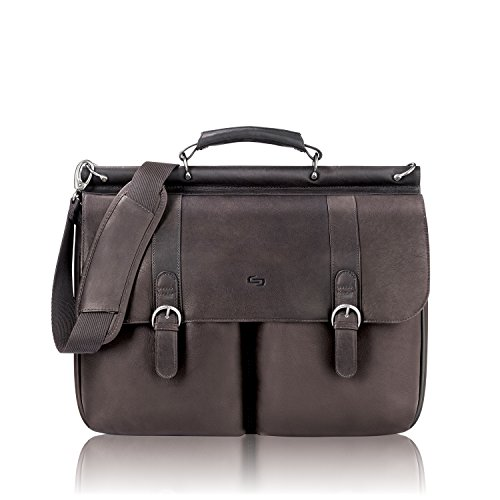 SOLO Leather Executive Laptop Bag Briefcase, 41 cm, Expresso