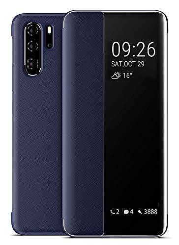 EUDTH Huawei P30 Pro Hülle, Mirror Smart View [Intelligente Wake up-/Sleep] Flip Cover Handyhüllen Leder Flip Cover Schutzhülle für Huawei P30 Pro 6.47