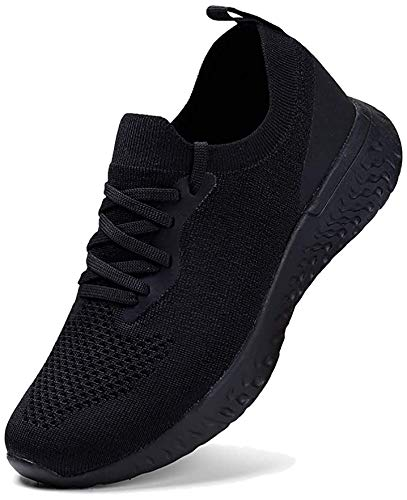 HKR Damen Turnschuhe Atmungsaktiv Laufschuhe Leichtgewichts Sportschuhe Freizeitschuhe Stra?enlaufschuhe Sneaker Trainer für Running Fitness Gym Outdoor Schwarz 40 EU