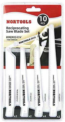 10 piezas 150 200 mm BIM CRV Reciprocating Saw Blades Combination Set Cordless Reciprocating Cut Metal Pruning Wood for Bosch DEWALT Makita models etc.