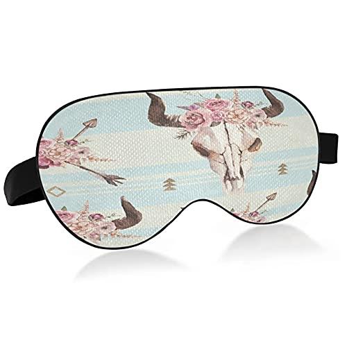 A84 Masque de sommeil aquarelle flèches taureau tête de mort avec cornes pour dormir aquarelle Boho flèches crâne de taureau avec cornes Masque de sommeil pour dormir