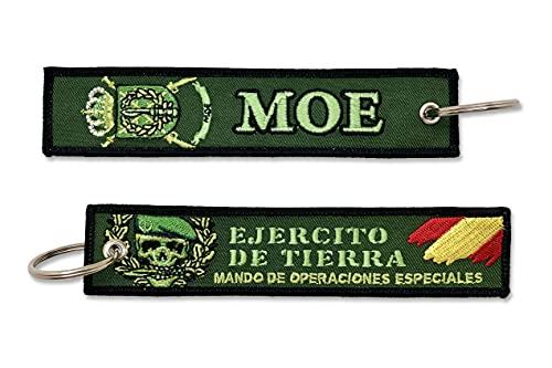 Llavero Bordado Ejército de Tierra MOE Mando de Operaciones Especiales Militar Fuerzas Armadas Españolas Verde