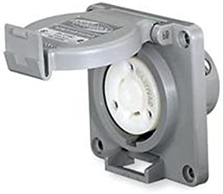Hubbell Wiring Systems HBL2620SW Twist-Lock Watertight Safety Shroud Receptacle, 30 amp, 250VAC, 2-Pole, 3-Wire Grounding, L6-30R, Gray