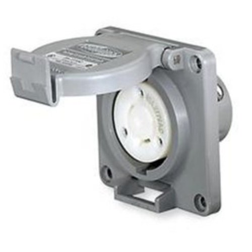 Locking Devices Twist Lock Watertight Safety Shroud Receptacle 30a 250v 2 Pole 3 Wire Grounding L6 30r Screw Terminal Gray