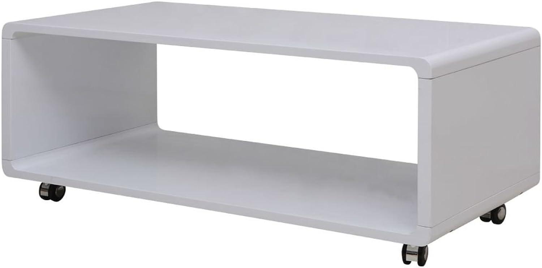 VidaXL White High Gloss Coffee Side Table Shelf Castor 110x55cm Modern Furniture