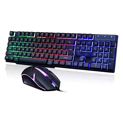 HKJZ SFLRW Teclado y ratón de Juegos, Ratón con Cable de retroiluminación con Cable USB y Combo de Teclado, Teclado de lluminación y ratón para Juegos y Trabajo