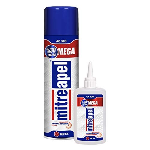 MITREAPEL Super CA Glue (4.5 oz.) with Spray Adhesive Activator (16.9 fl oz.) - Crazy Craft Glue for Wood, Plastic, Metal, Leather, Ceramic - Cyanoacrylate Glue for Crafting and Building (1 Pack)