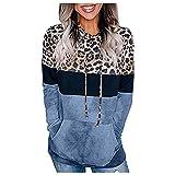 NHNKB Sudadera con capucha para mujer, diseño de leopardo, para otoño e invierno, fina, azul, M