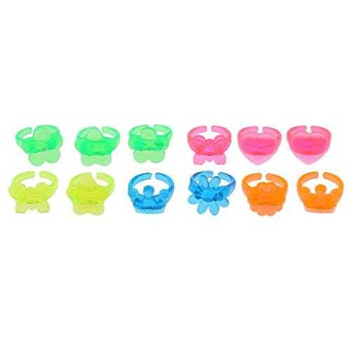 12x Plastik Ringe Kinderringe Kinder Schmuck, Perfekt passt an Partytaschen Füller und Party-Anzieh