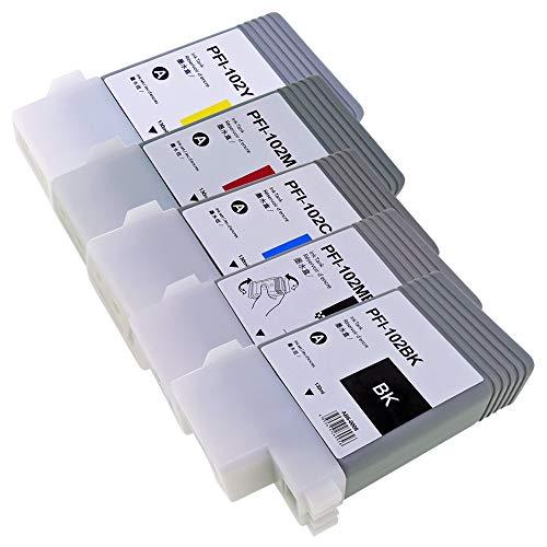 PFI-102 (BK/顔料MBK/C/M/Y)【5色セット】キャノン大判プリンター用プレミアム互換インクカートリッジ 残量表示対応 最新ICチップ 説明書あり【らくとく商品一年保証】対応機種: imagePROGRAF iPF655 / iPF650 / iPF755 / iPF750 他 Morishop製